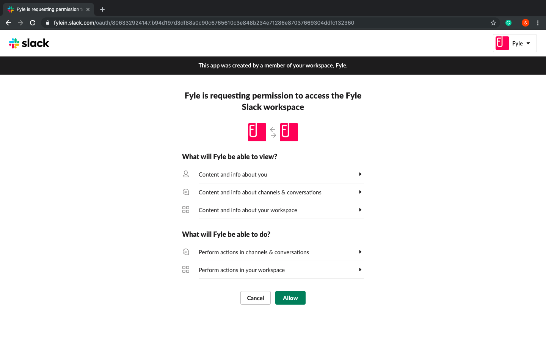 Allow access for Fyle Slack workspace